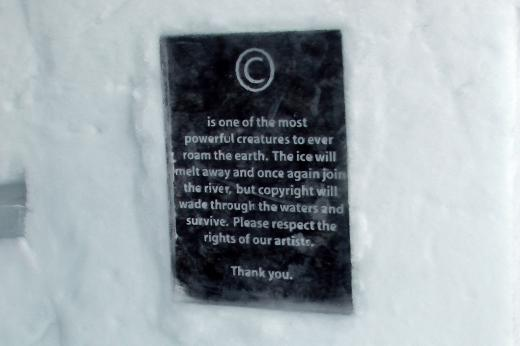 copyright notice in the Ice Hotel, Kiruna