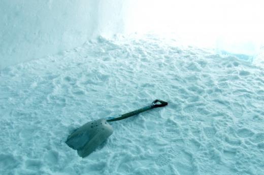 spade and snow in the Ice Hotel, Kiruna
